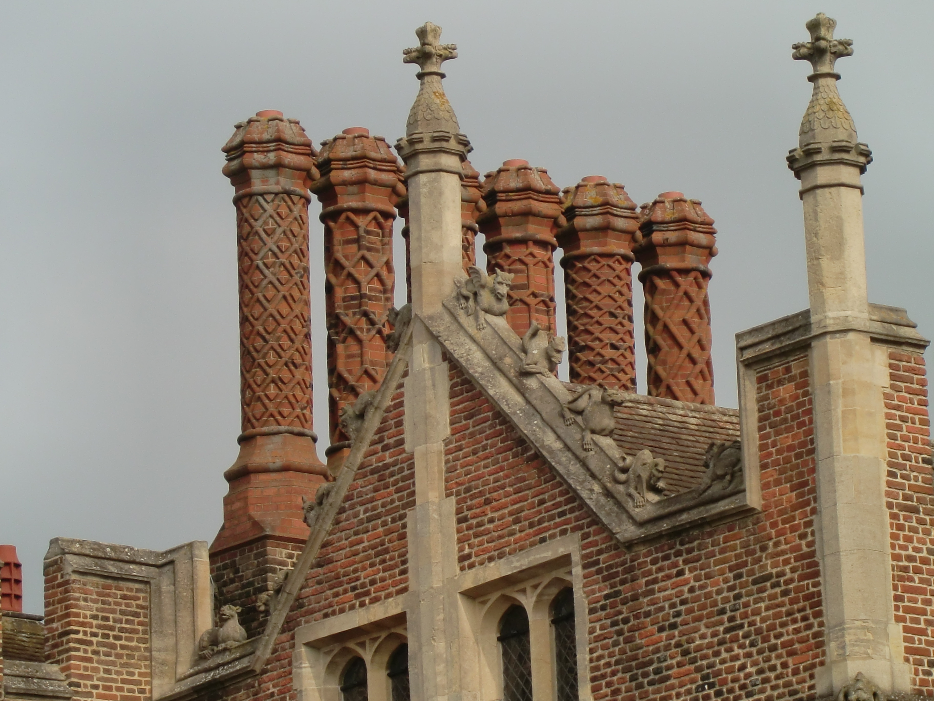 Description chimney and roof detail front of hton court palace