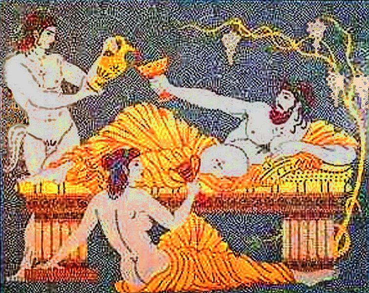 Dionysos buvant sous une treille Asie hellénistique