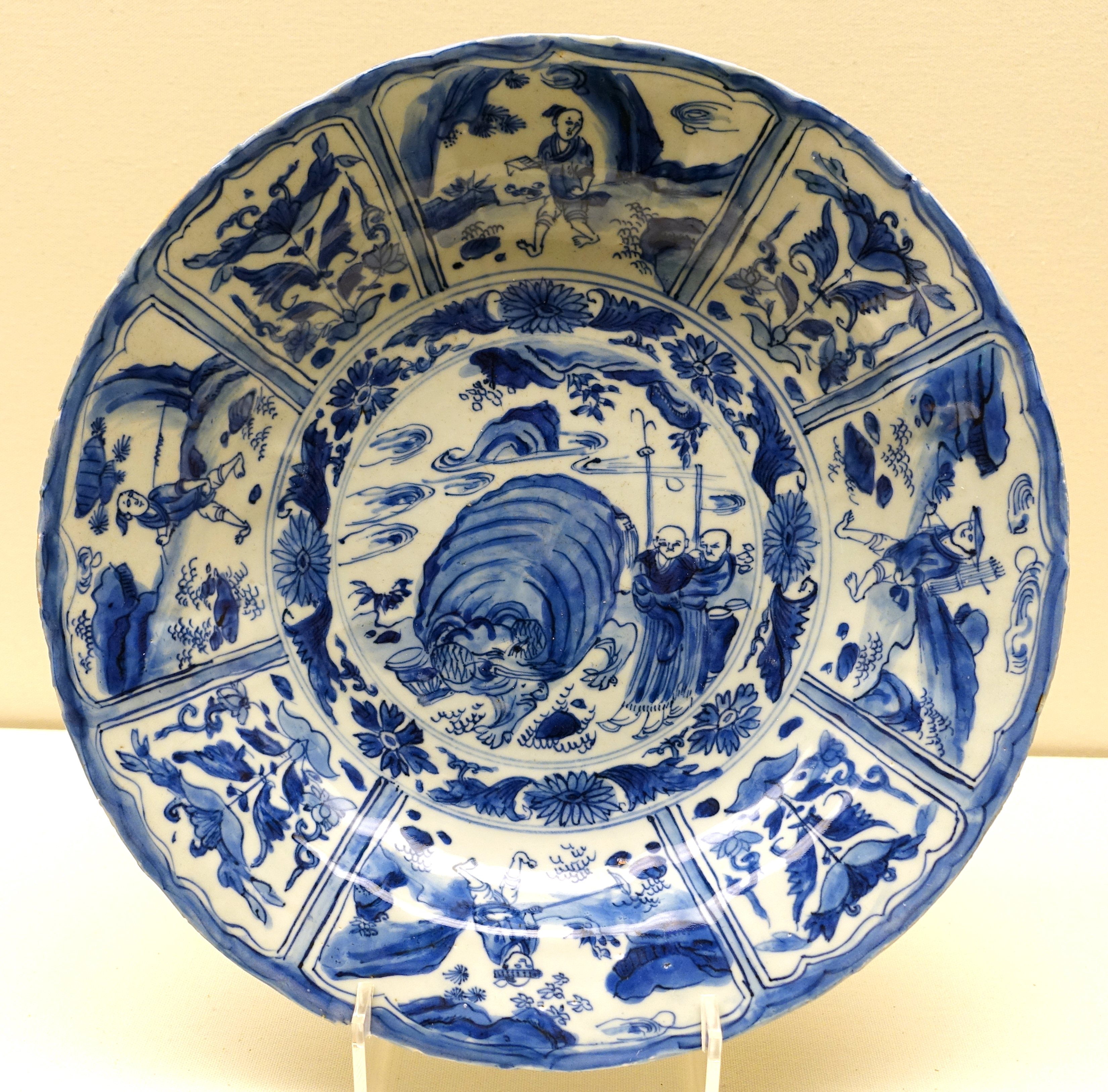 file dish china transitional period mid 17th century ad blue and