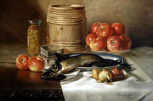 "English: ""Still Life with Fish,"" oil..."