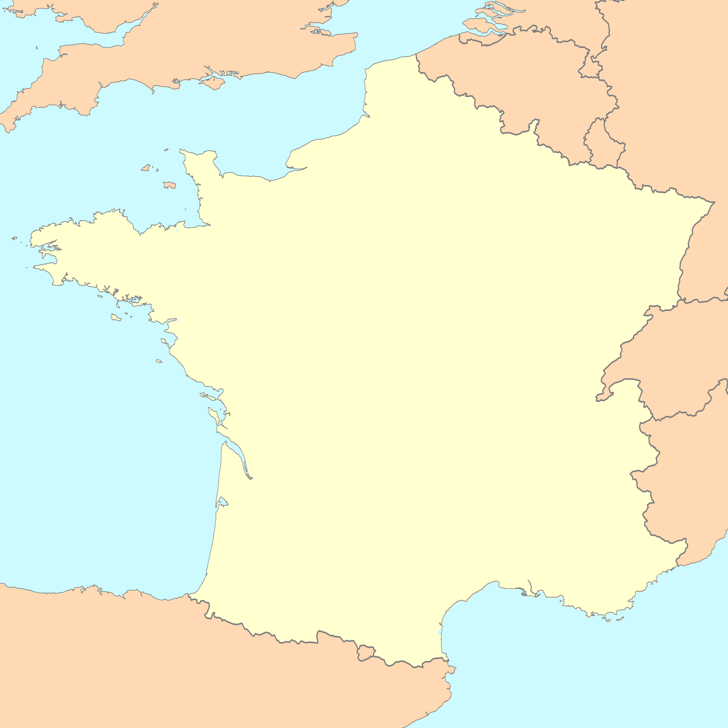 blank outline maps of france