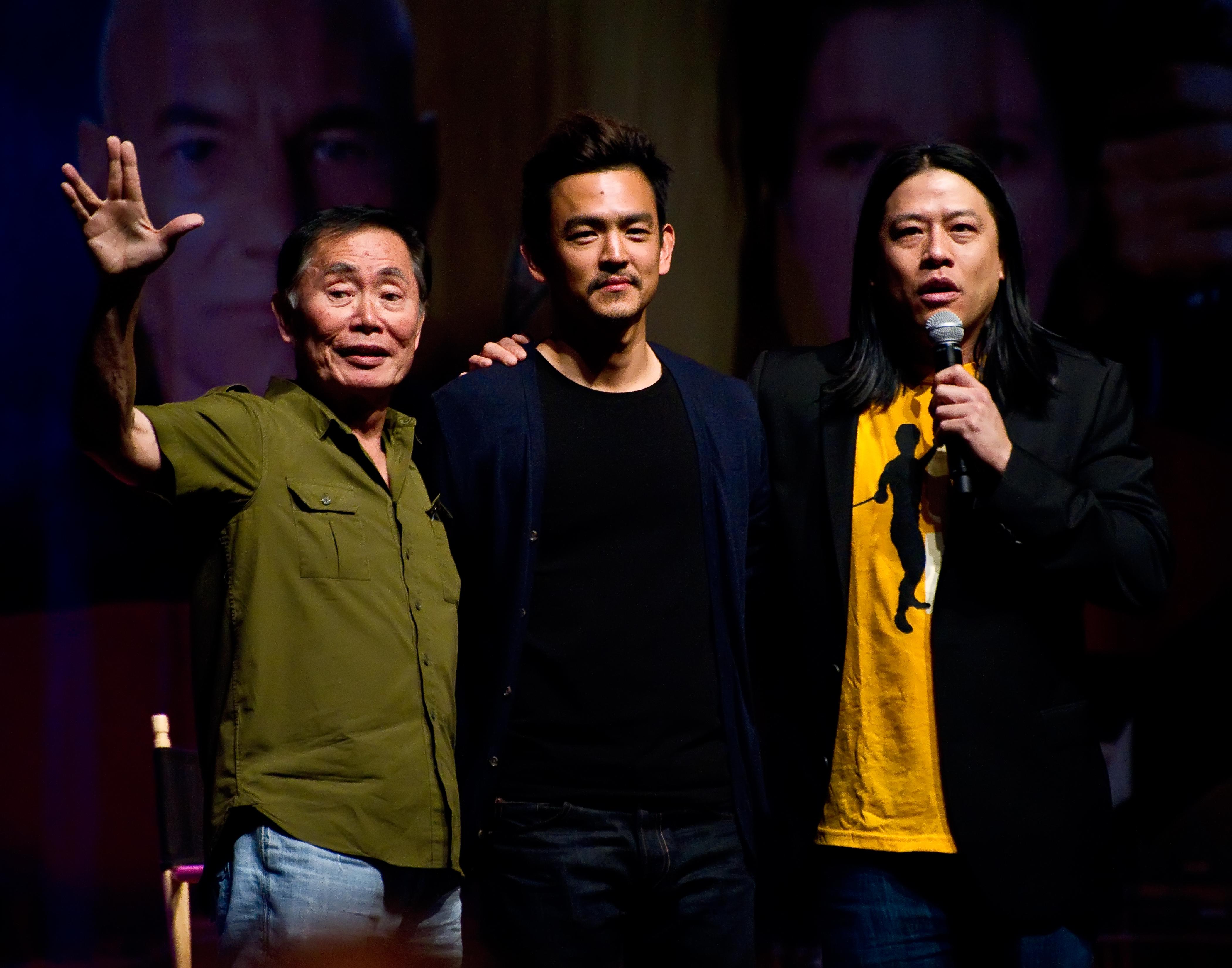(Left to right) George Takei, John Cho, and Garrett Wang.