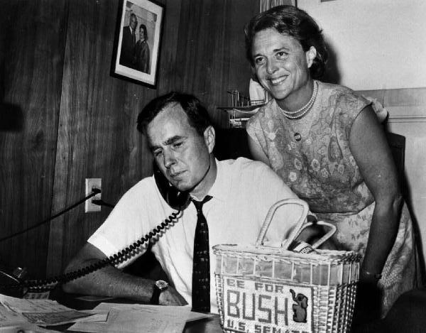 George and Barbara Bush campaign for Senate 1964