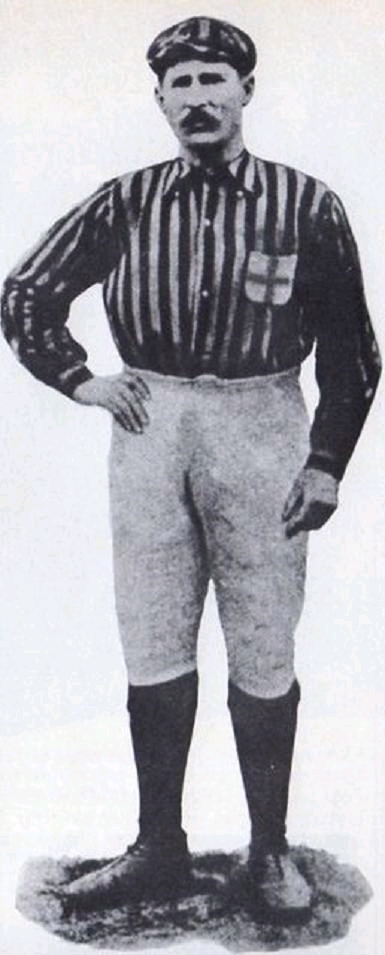 A black and white picture of Herbert Kilpin, the first captain of A.C. Milan