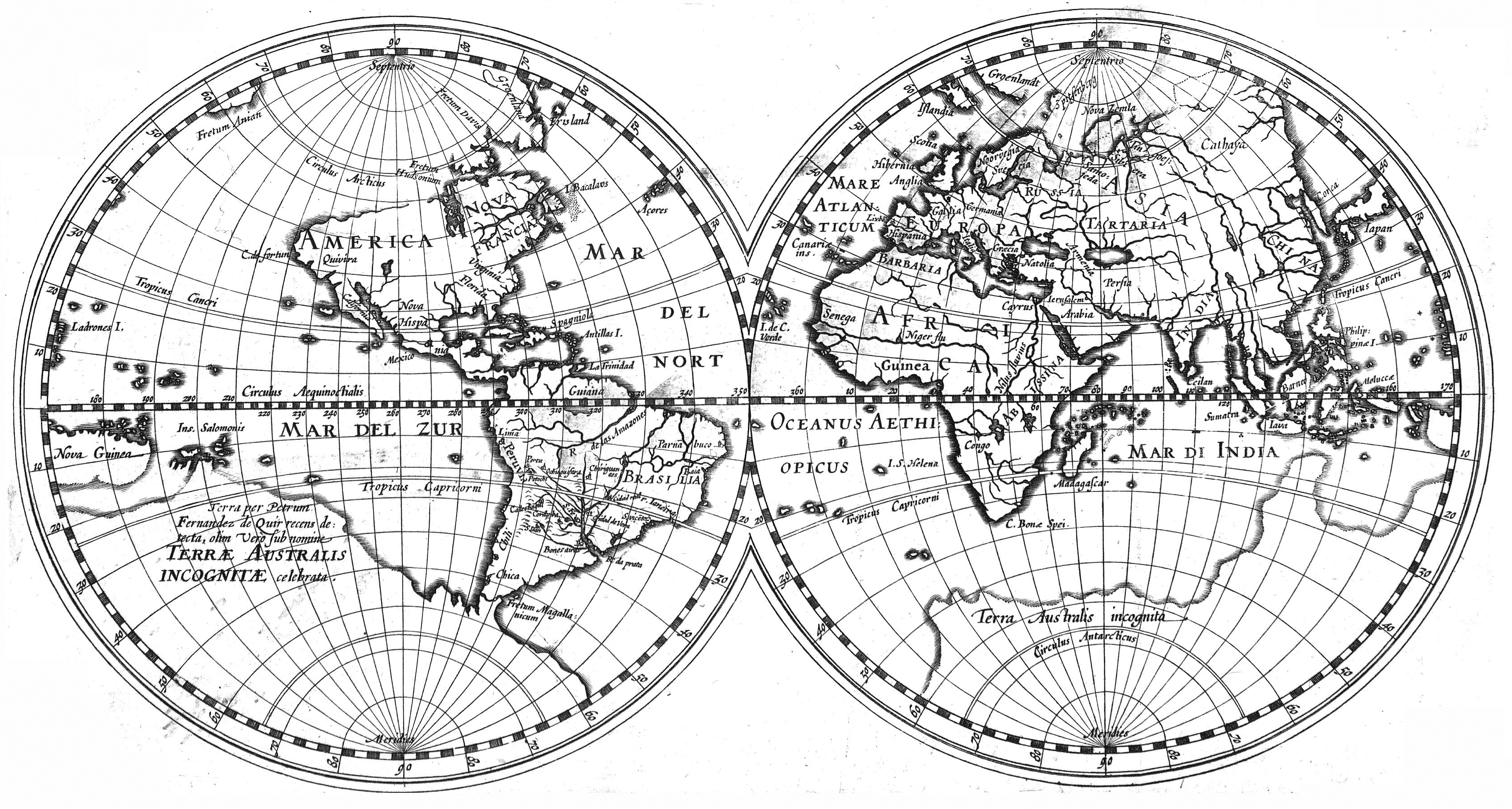 Archivohessel gerritsz worldmap of 1612 including the discovery archivohessel gerritsz worldmap of 1612 including the discovery of la austrialia del espiritu gumiabroncs Gallery