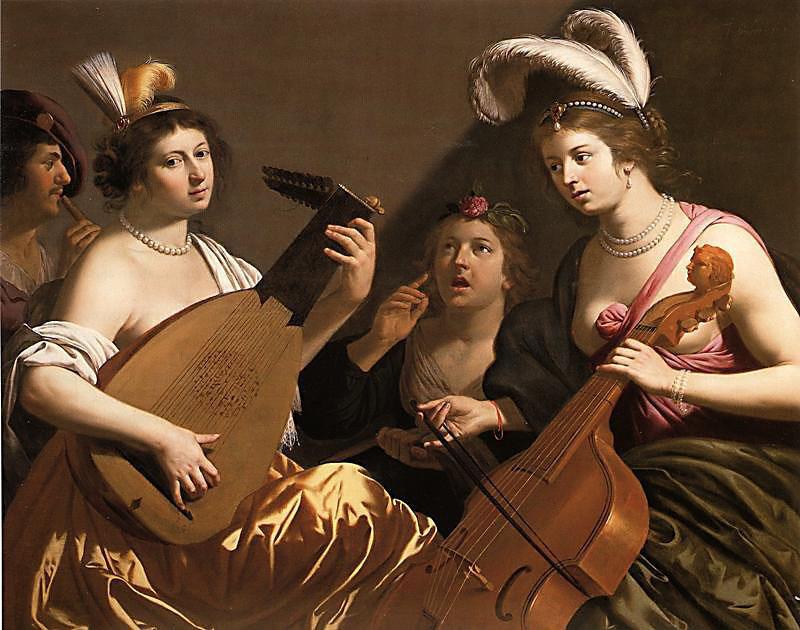 musiciennes jouant du luth et de la viole