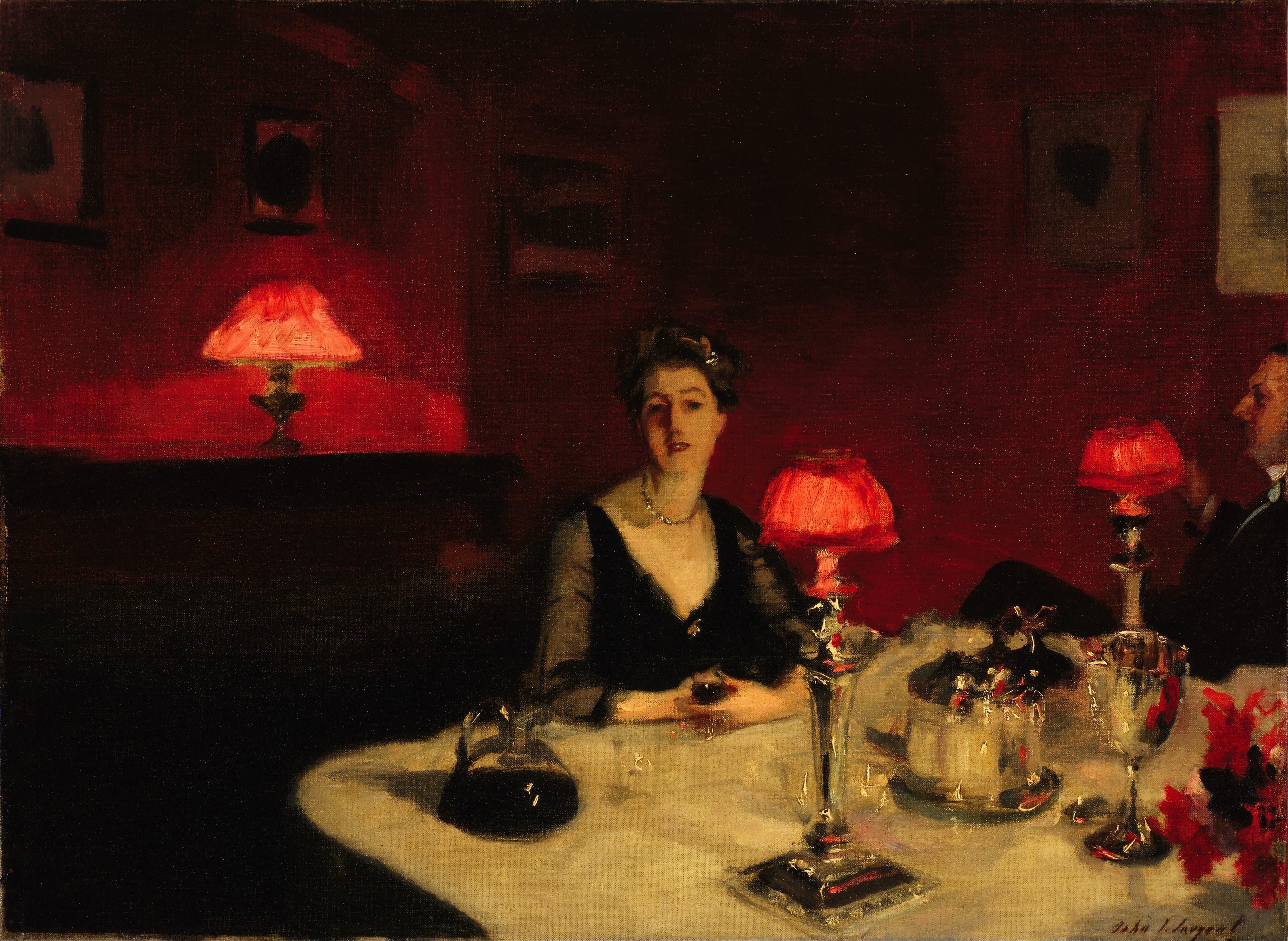 file john singer sargent le verre de porto a dinner table at night google art. Black Bedroom Furniture Sets. Home Design Ideas