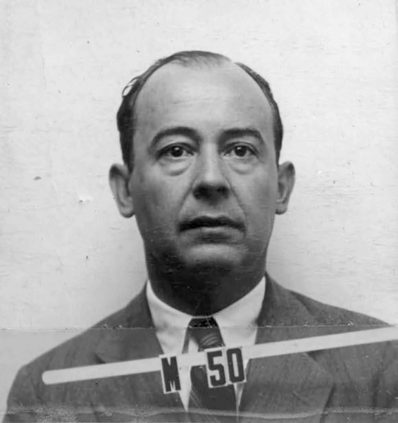 John von Neumann's wartime Los Alamos ID badge photo.