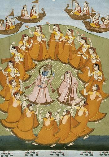 Krishna and Radha dancing the Rasalila, Jaipur, 19th century.jpg