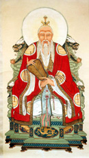 Laozi depicted as a Taoist god.