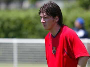 Messi during a training session with Barcelona in August 2006 Lionel Messi Barca training.jpg