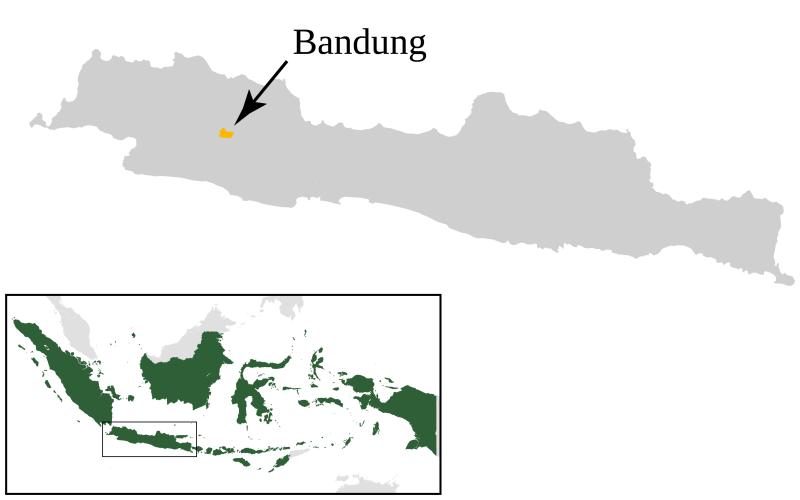 Localización de Bandung en Indonesia.