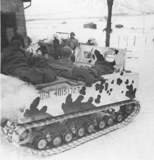 Transporting wounded during the Ardennes offensive