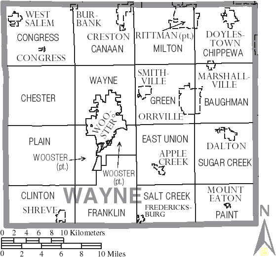 FileMap of Wayne County Ohio With Municipal and Township LabelsPNG