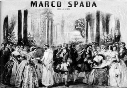 Marco Spada: Die Ballszene im zweiten Akt. Lithographie aus der Partitur.