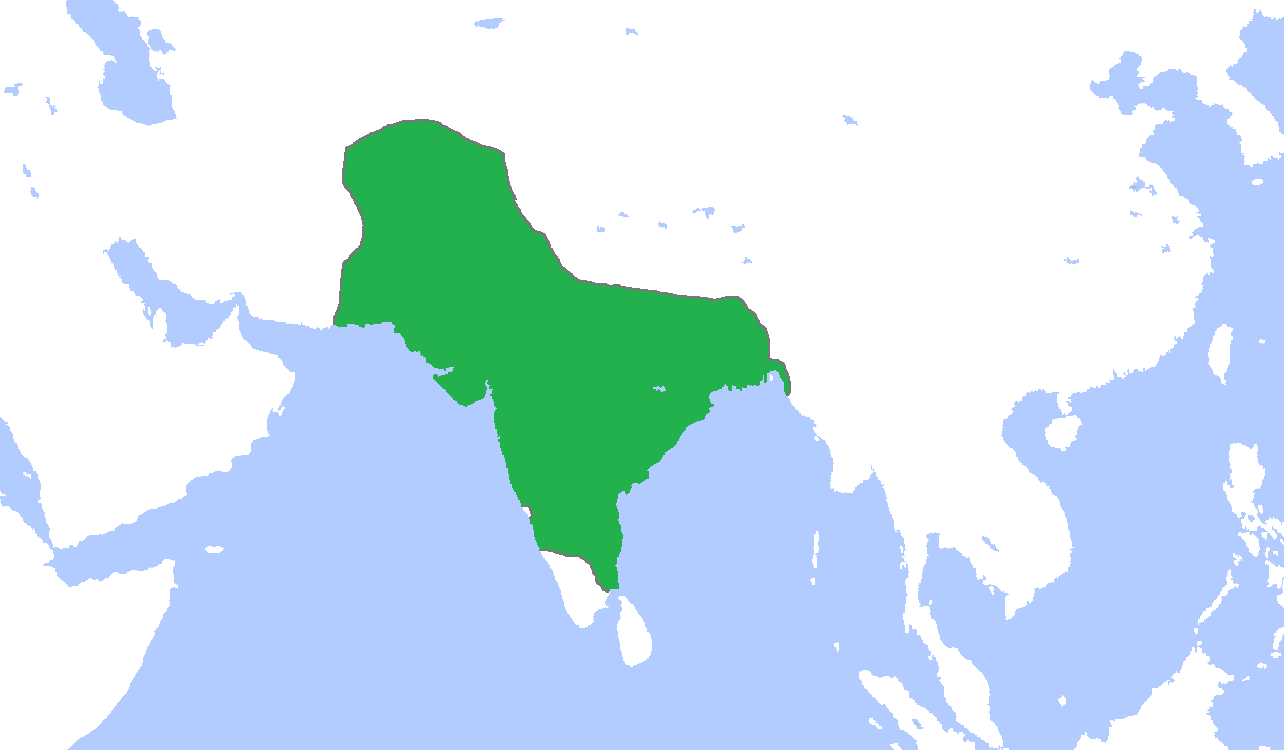 Map of the Mughal Empire's greatest extent