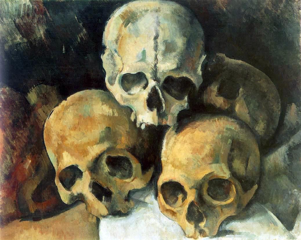 Paul Cézanne: Schädelpyramide, Öl auf Leinwand