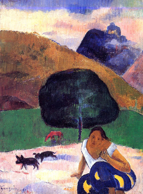 Paul_Gauguin_-_Black_Pigs_with_Crouching_Tahitian_W455 - Nafea Faa Ipoipo? - Lifestyle, Culture and Arts