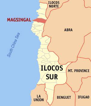 Map of Ilocos Sur showing the location of Magsingal