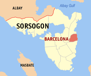 Map of Sorsogon showing the location of Barcelona