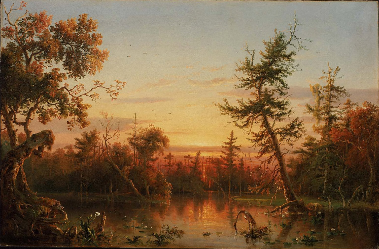 Famous Painting Of Swamp With Sunset