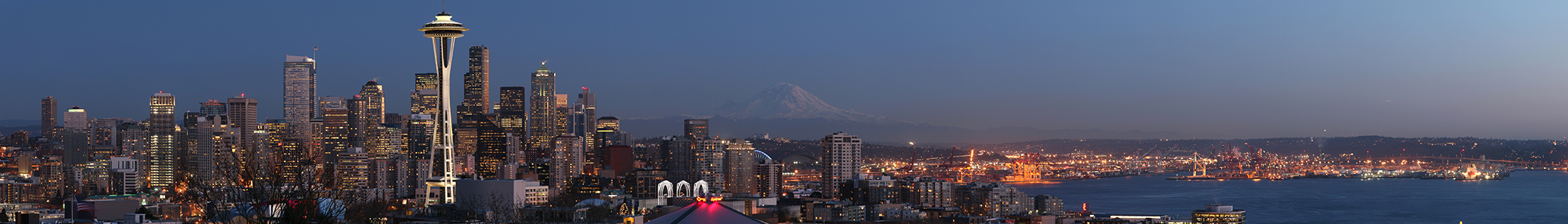 Skyline of Seattle, Washington, United States, with Mount Rainier in the background.