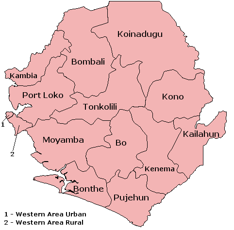 The 12 districts and 2 areas of Sierra Leone Sierra Leone Districts.png