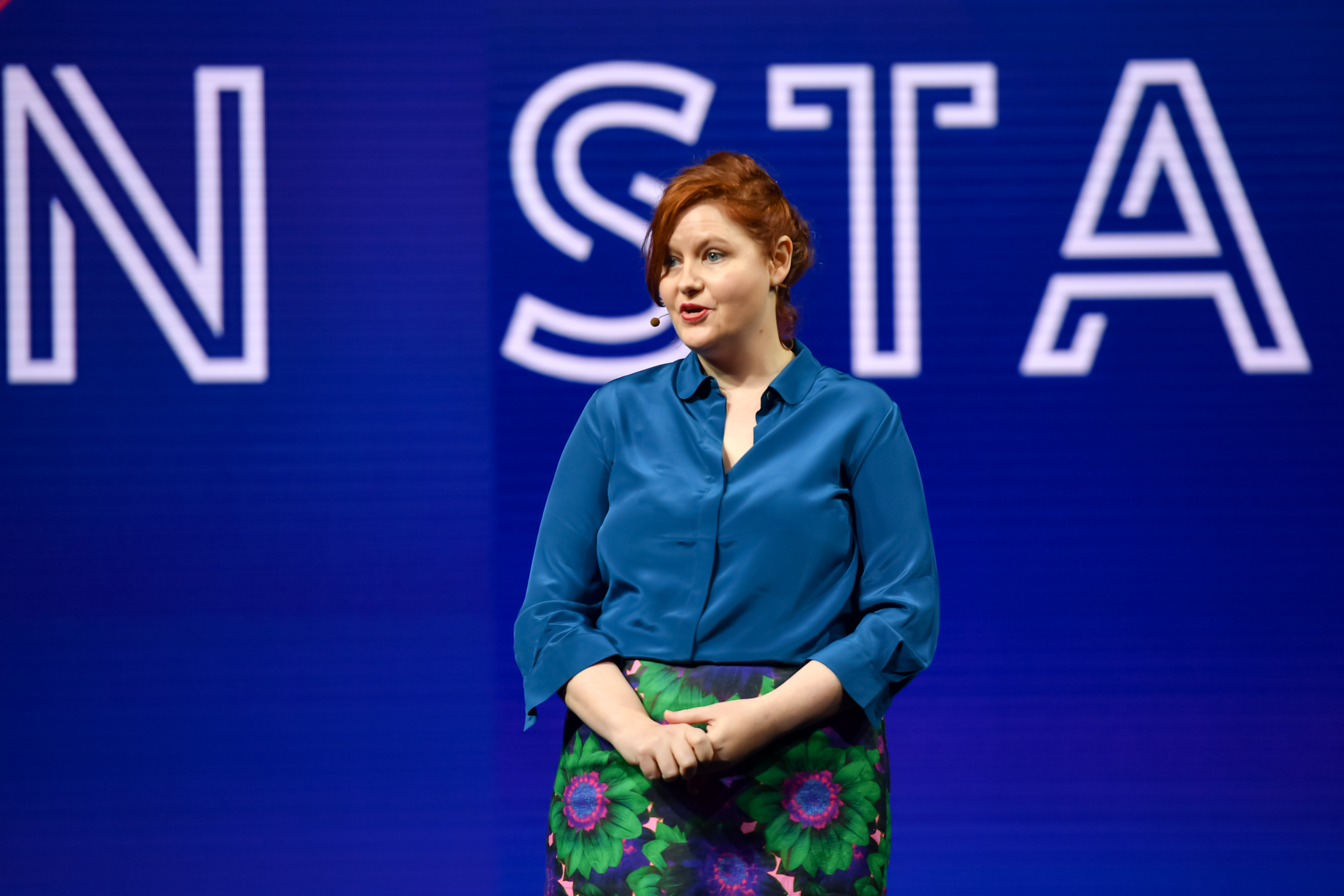during her talk on the main stage at the Game Developers Conference 2019 French Siobhan Reddy lors de sa plénière à la Game Developers Conference 2019