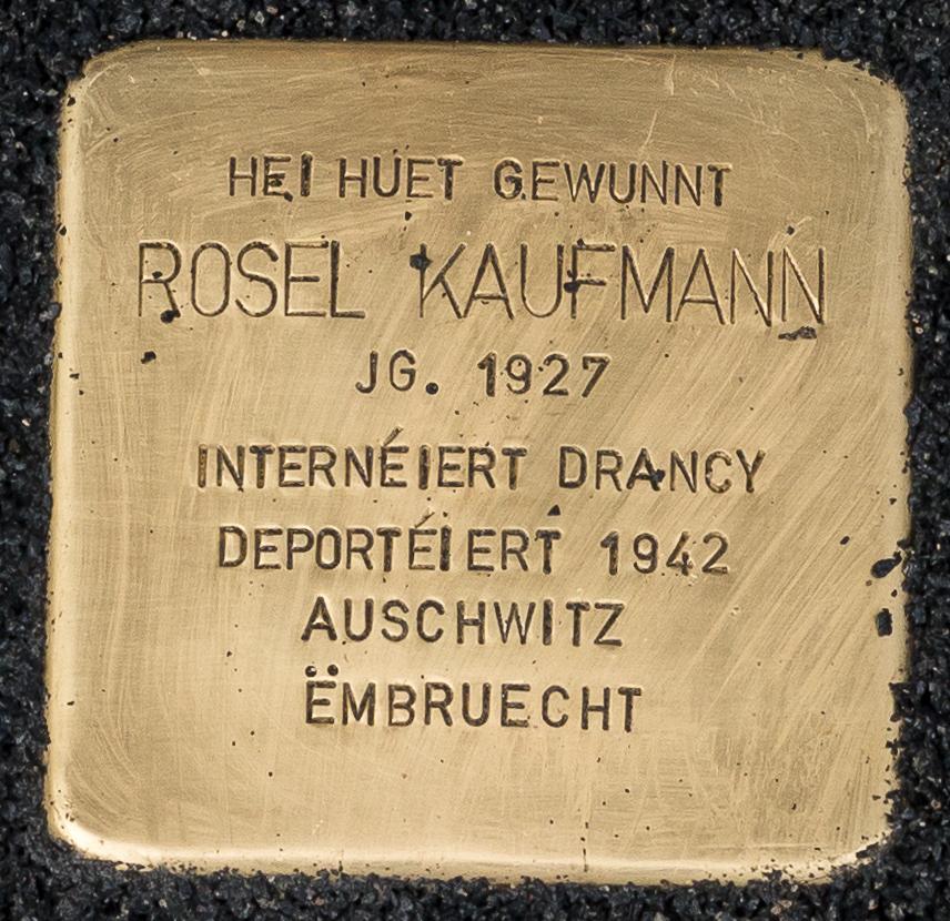 Stolperstee Rosel Kaufmann , 15 rue de la Grève nationale, Déifferdeng-101.jpg
