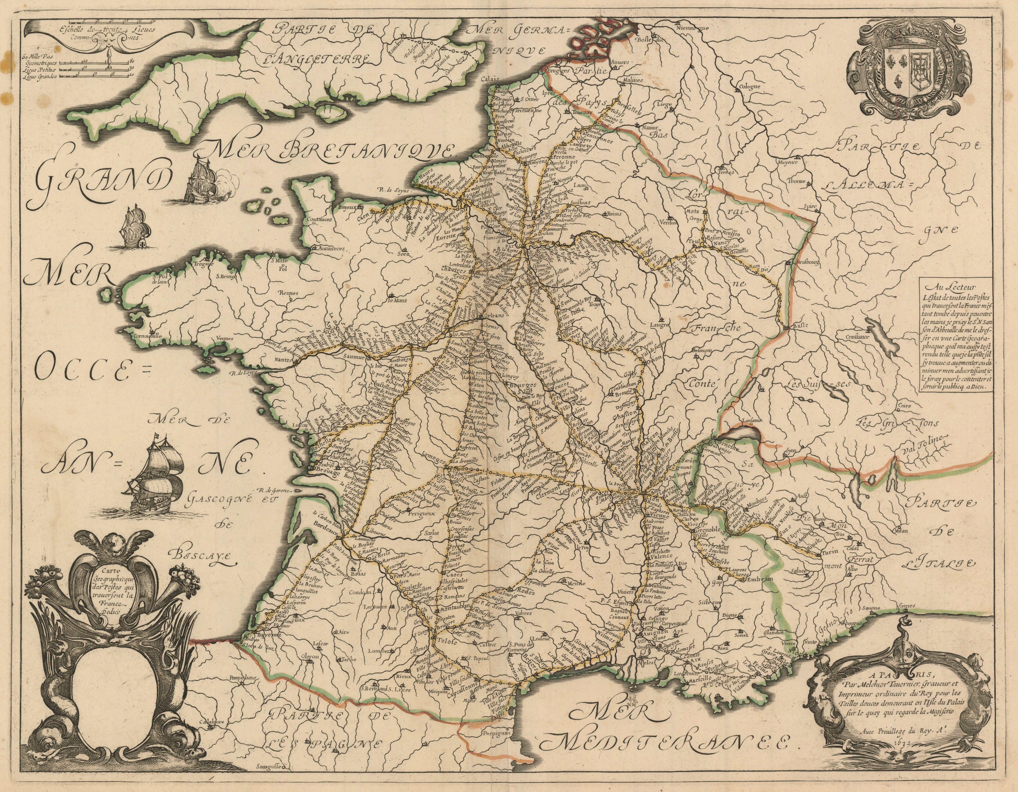 Physical Map Of France Outline.File Tavernier France Postal Route Map 1632 Jpg Wikimedia Commons