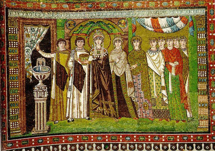 Keiserinne Theodora med sitt hoff, mosaikk fra San Vitale i Ravenna (500-t)