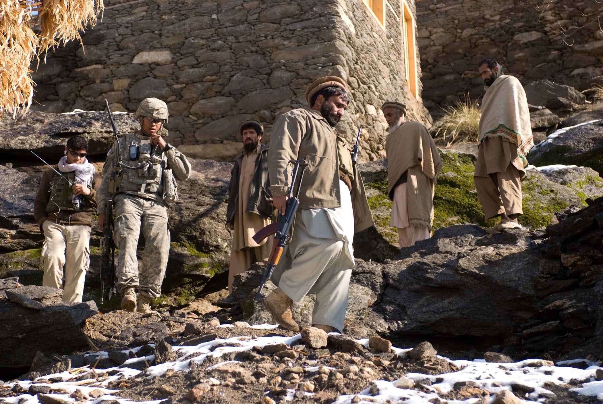 Description us army soldiers patrol in afghanistan