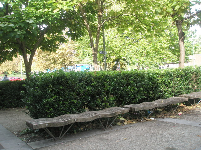 File:Wavy benches outside Aldershot Library - geograph.org.uk