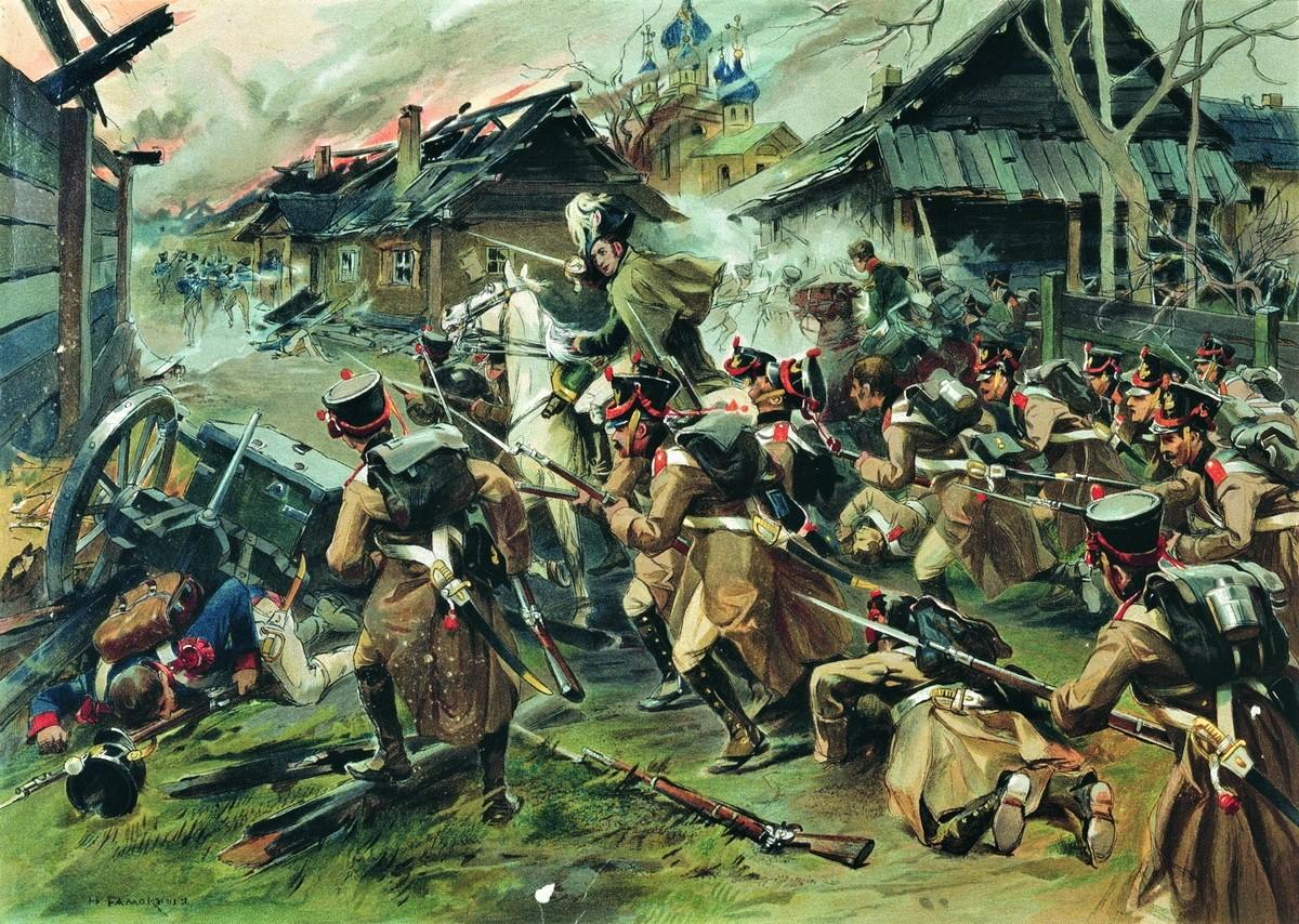Бой за Малоярославец 12 октября 1812 года (картина Н.С. Самокиша) .jpg