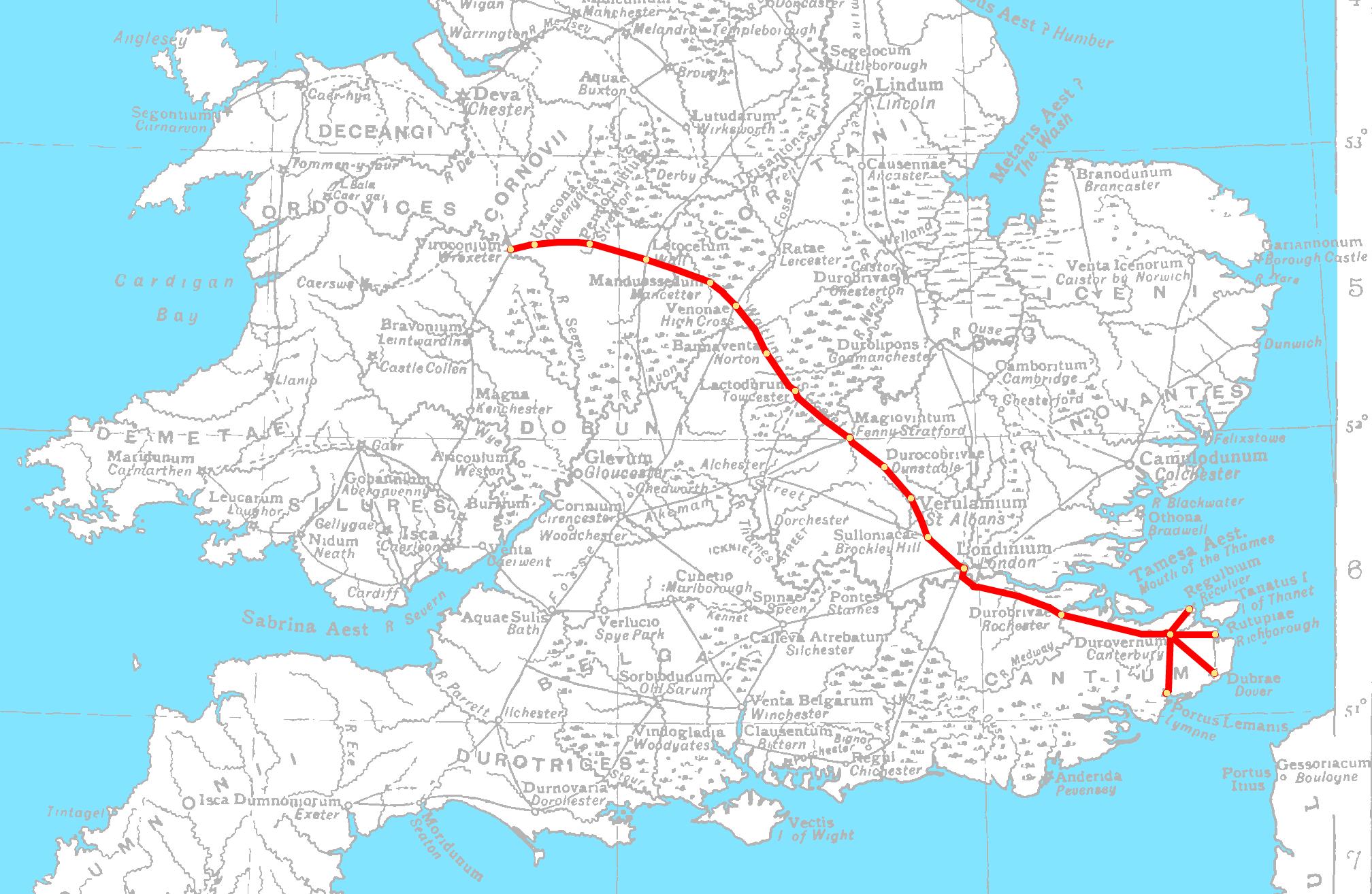 Roman Roads Of Britain Subway Map.Watling Street Wikipedia