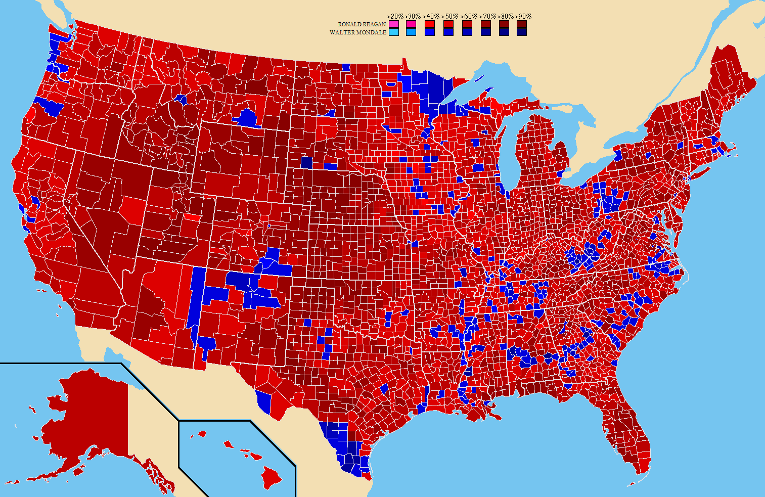 1980 United States presidential election Result by County 1513983