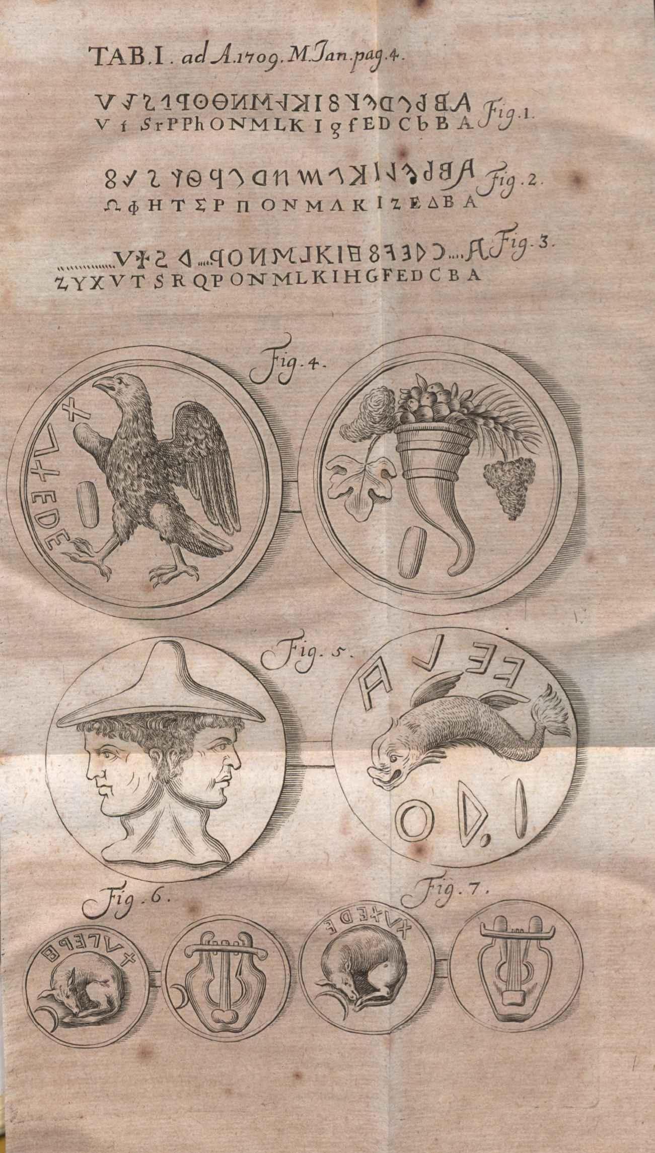 Illustration for the review of ''Justi Fontanini Forojuliensis De Antiquitatibus Horti colonii Etruscorum libri duo'', published on [[Acta Eruditorum