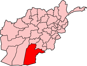 Map of Afghanistan with Kandahar highlighted