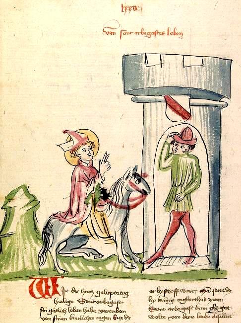 Arbogast gjør sitt inntog i Strasbourg, fra en elsassisk utgave av Legenda Aurea (1419)
