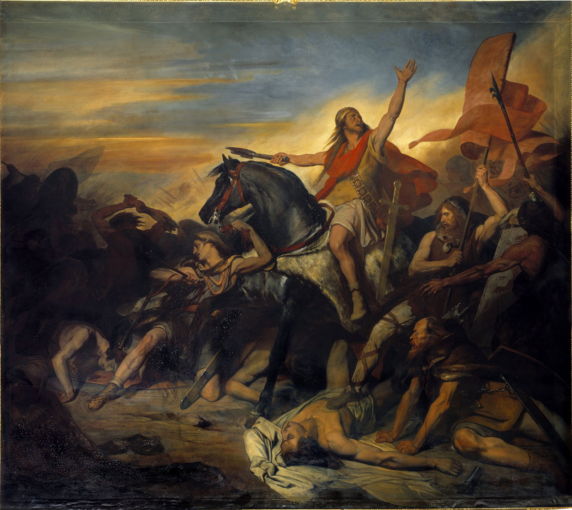 Clovis I leading the Franks to victory in the Battle of Tolbiac, in Ary Scheffer's 1836 painting
