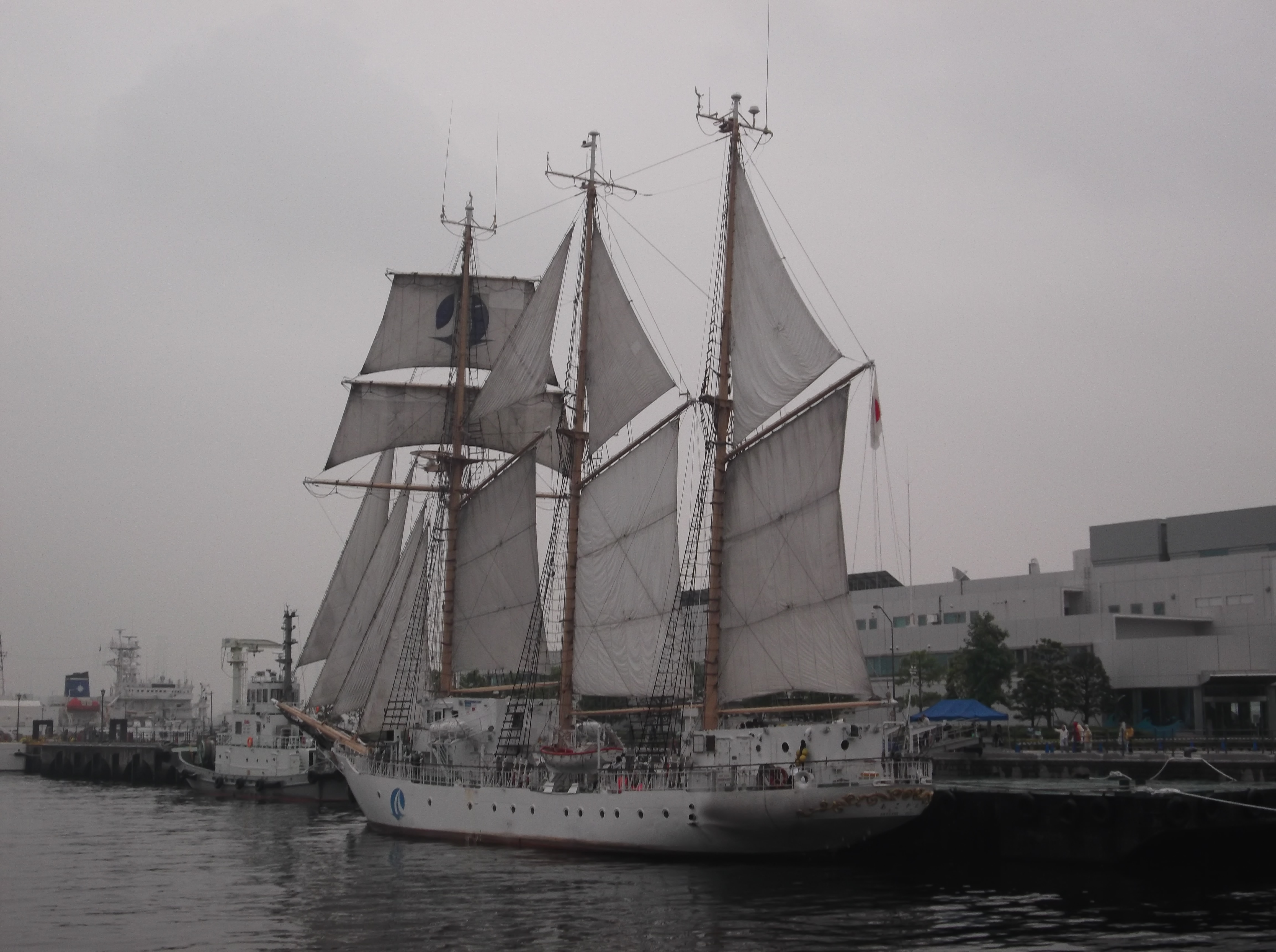 ファイル back view of sail drill of sail ship akogare at port of