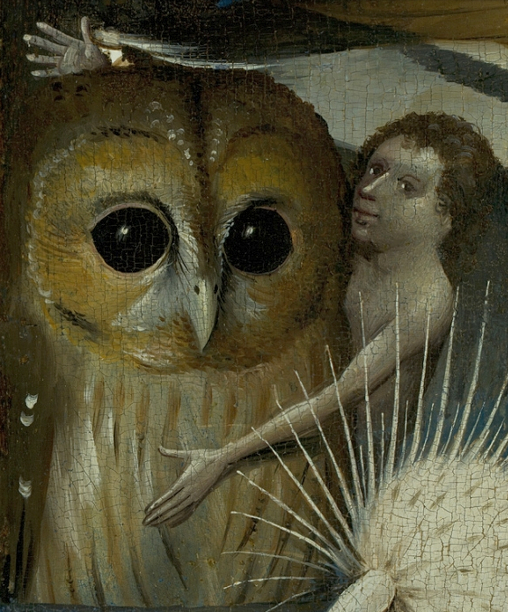 Human embracing tawny owl, detail from Bosch's Garden of earthly delights
