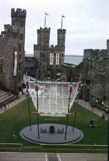 Caernarfon Castle 30 June 1969. The day before Charles' Investiture