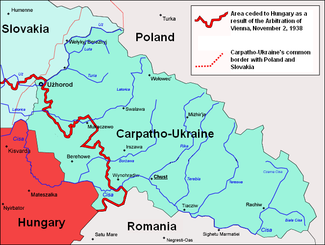 Map of Carpatho-Ukraine in 1939.