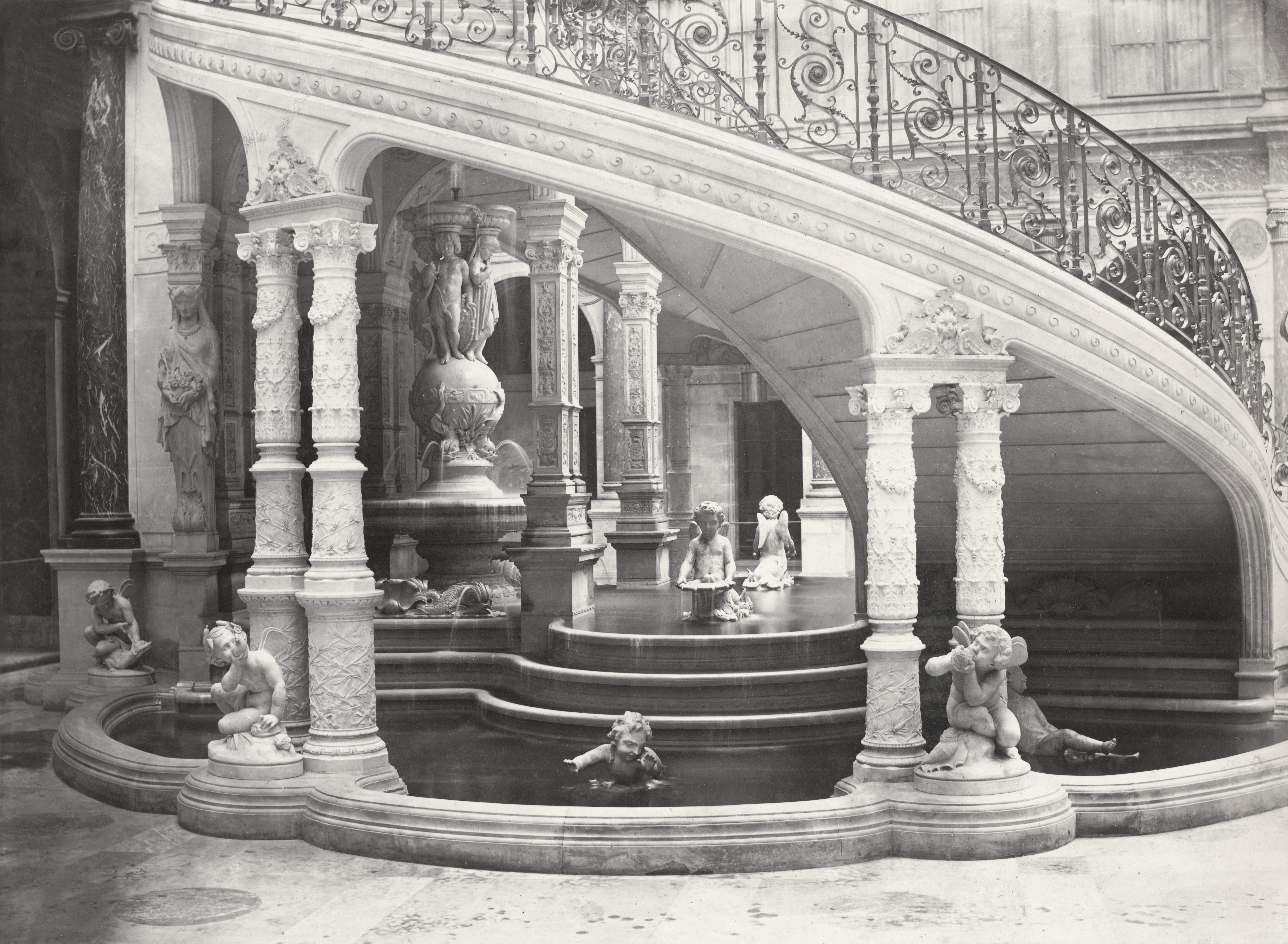File:Charles Marville, Ancien Hôtel de Ville, escalier de la Cour ...