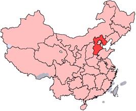 Hebeis läge i Kina.