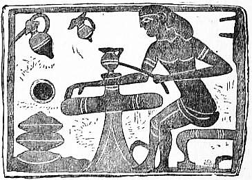 EB1911 Ceramics Fig. 16.—Votive tablet from Corinth; a potter applying painted bands while the vessel revolves on the wheel.jpg