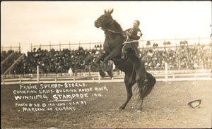 Fannie Sperry Steele, Champion Lady Bucking Horse Rider, Winnipeg Stampede, 1913 FannieSperrySteele.jpg