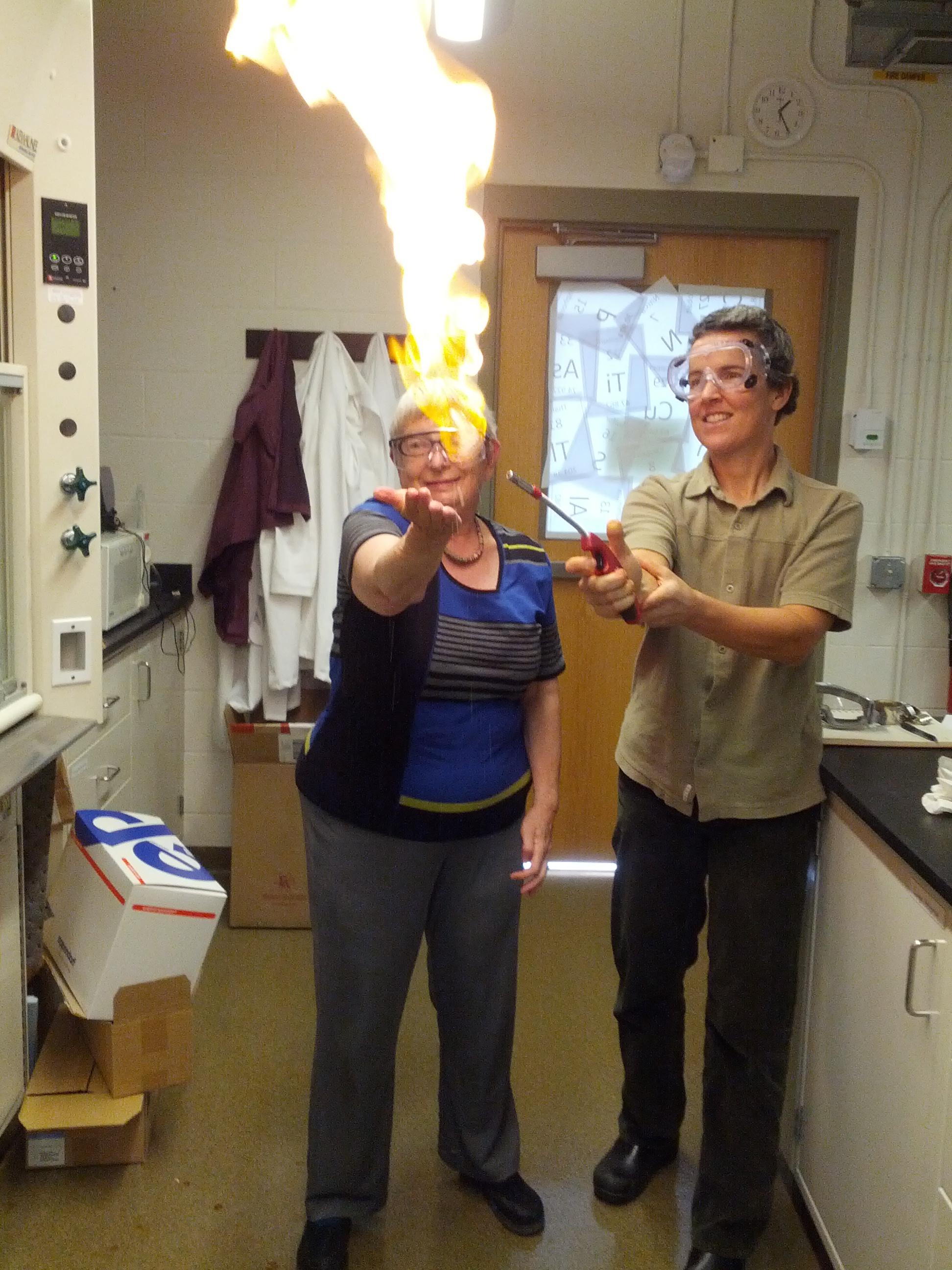 Alexandra Navrotsky with Lee Penn performing the methane mamba chemical demonstration