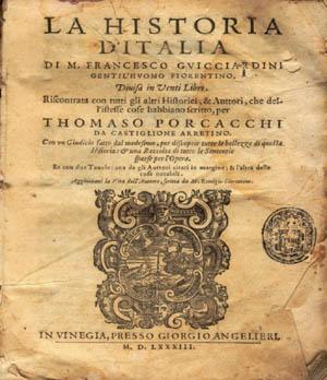 Титульный лист издания «Истории Италии» Гвиччардини